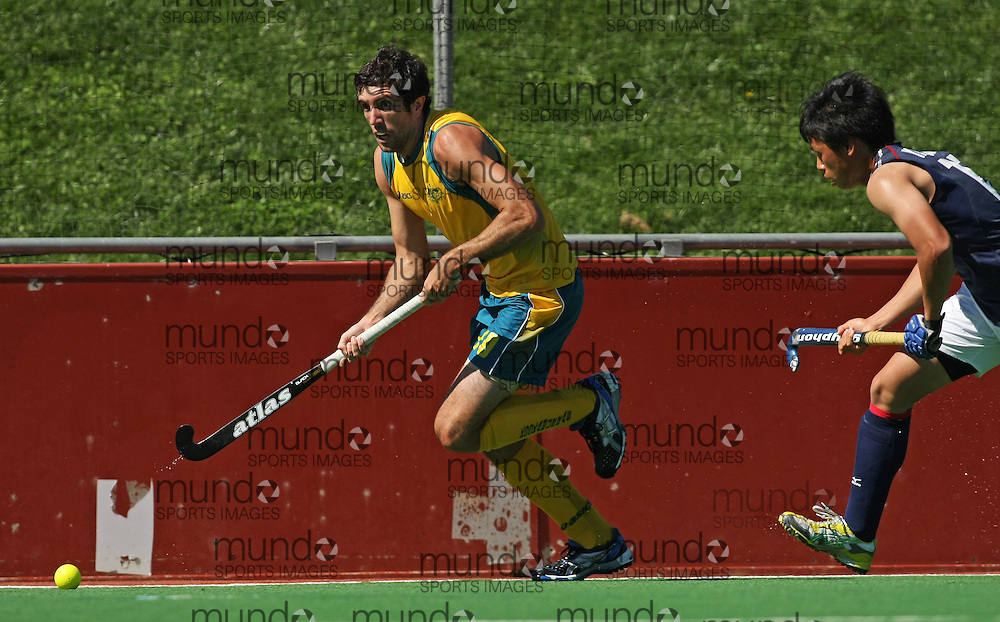 10(Canberra, Australia---31 March 2012) Russell Ford of the Australia Kookaburra national field hockey team paying the second of a three game field hockey test match series between Australia and Japan men's field hockey teams. 2012 Copyright Photograph Sean Burges / Mundo Sport Images.