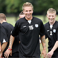 St Johnstone Training...05.08.05<br />Ryan Stevenson (No 15) in training with team mates Simon Mensing (No 8) and Mark baxter<br />see story by Gordon Bannerman Tel: 01738 553978 or 07729 865788<br />Picture by Graeme Hart.<br />Copyright Perthshire Picture Agency<br />Tel: 01738 623350  Mobile: 07990 594431