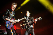 John Taylor and  Nick Rhodes of Duran Duran perform on stage at SEE Hydro onDecember 06, 2015 in Glasgow,Scotland.