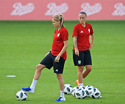 NEWPORT, WALES - Monday, September 2, 2019: Wales' Kayleigh Green and Natasha Harding during a training session at Rodney Parade ahead of the UEFA Women Euro 2021 Qualifying Group C match against Northern Ireland. (Pic by David Rawcliffe/Propaganda)