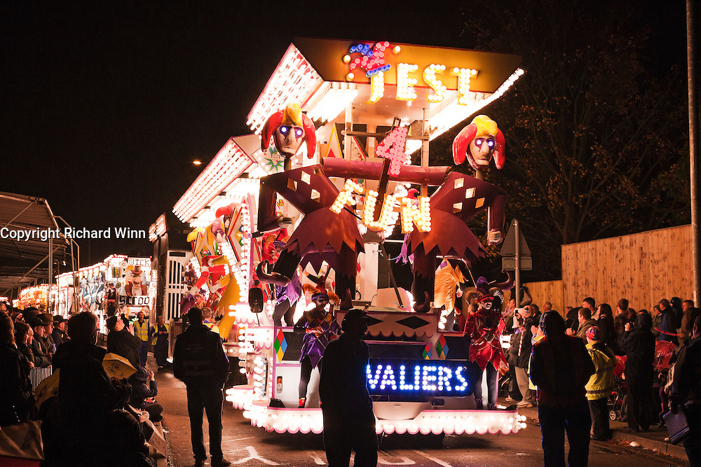 Photo of Jest 4 Fun, the entry by Cavaliers Carnival Club in the Bridgwater Guy Fawkes Carnival in 2010.