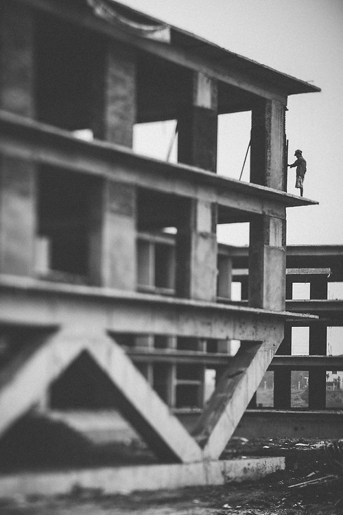 A construction worker in Hanoi, Vietnam.