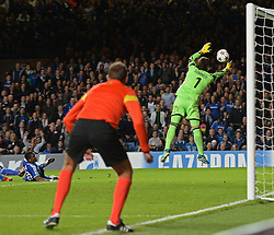 LONDON, ENGLAND - September 18: Basel's Yann Sommer saves a shot from Chelsea's Samuel Eto'o during the UEFA Champions League Group E match between Chelsea from England and Basel from Switzerland played at Stamford Bridge, on September 18, 2013 in London, England. (Photo by Mitchell Gunn/ESPA)