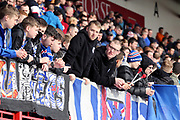 Rangers fans prior to kick off in the Ladbrokes Scottish Premiership match between Hamilton Academical FC and Rangers at New Douglas Park, Hamilton, Scotland on 24 February 2019.