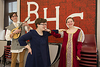 """Ian Cluett """"The Minstral"""", Kelly Hayes """"Winifred"""" and Emma Lacey """"Princess 12"""" get into character for their upcoming production of """"Once Upon a Mattress"""" at Belmont High School.  (Karen Bobotas/for the Laconia Daily Sun)"""
