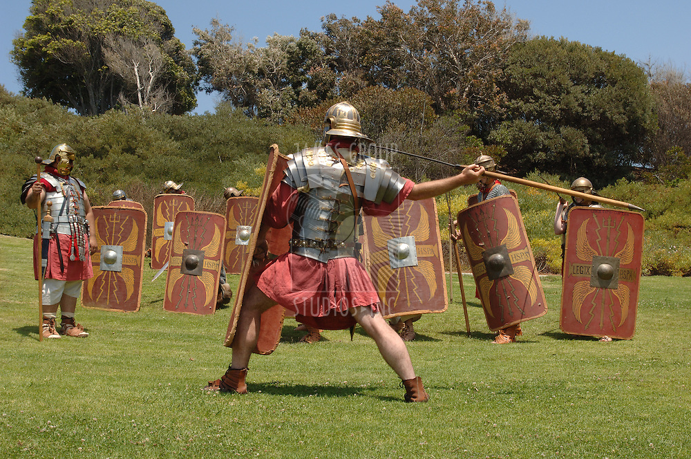 Roman soldiers practicing military skills