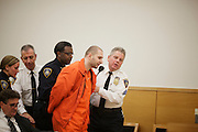 BROOKLYN, NY-- Maksim Gelman, 24, is led out of court following an outburst during sentencing in Brooklyn Supreme Court on the afternoon of Wednesday, January 18, 2012.  Gelman pled guilty to attempted murder in connection with his attack on a subway passenger on February 12, 2011.  <br /> <br /> CREDIT: Andrew Hinderaker for the Wall Street Journal