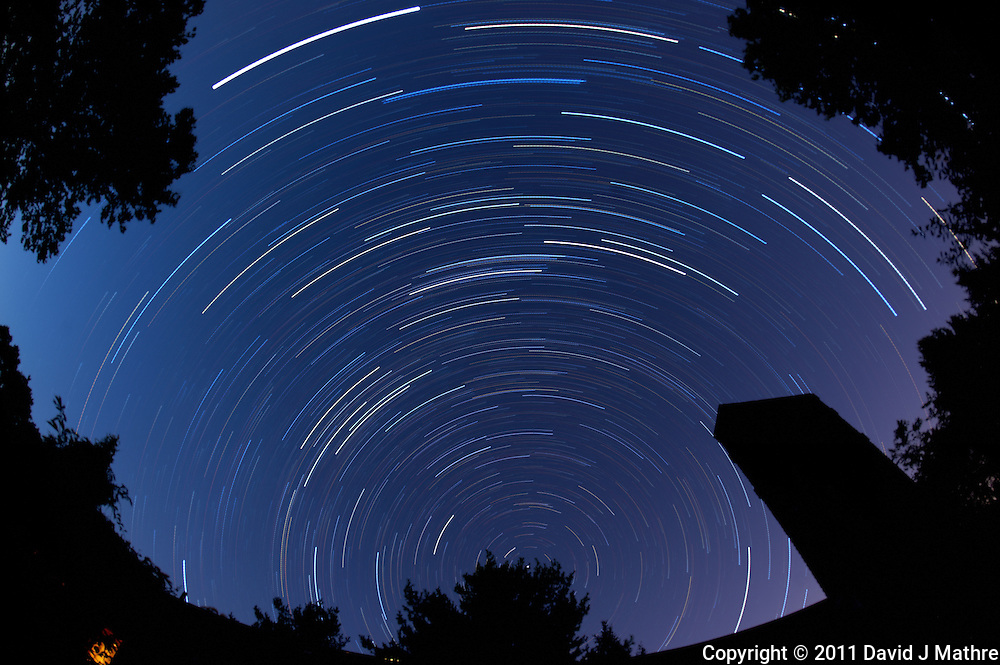 North View Star Trails. Autumn Early Morning in New Jersey. Image taken with a Nikon D3 and 16 mm f/2.8 mm Fisheye lens (ISO 200, 16 mm, f/4, 1 min 59 sec). Composite of 56 images combined using the Startrails program.