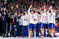 Second placed team of Serbia celebrate at final ceremony after the final handball match between Serbia and Denmark at 10th EHF European Handball Championship Serbia 2012, on January 29, 2012 in Beogradska Arena, Belgrade, Serbia. Denmark defeated Serbia 21-19 and became European Champion 2012. (Photo By Vid Ponikvar / Sportida.com)