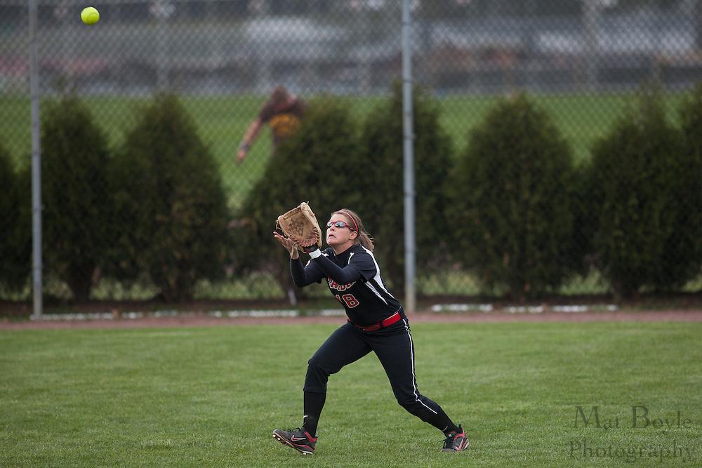 Rutger's Camden Softball  OF Lauren Hatzelhoffer (18); Rutgers-Camden softball at Rowan University on Tuesday April 10, 2012 in Glassboro, NJ. (photo / Mat Boyle)