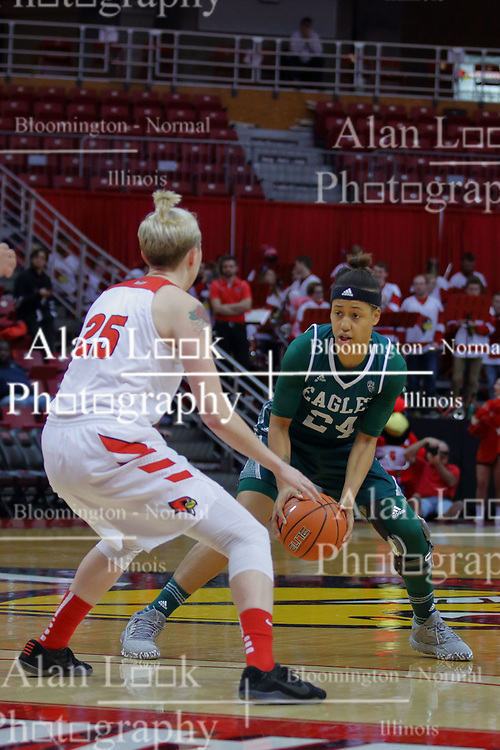 10 December 2017: Emoni Jackson defended by Hannah Green during an College Women's Basketball game between Illinois State University Redbirds and the Eagles of Eastern Michigan at Redbird Arena in Normal Illinois.