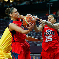 09 August 2012: USA Diana Taurasi grabs a rebound during 86-73 Team USA victory over Team Australia, during the women's basketball semi-finals, at the 02 Arena, in London, Great Britain.