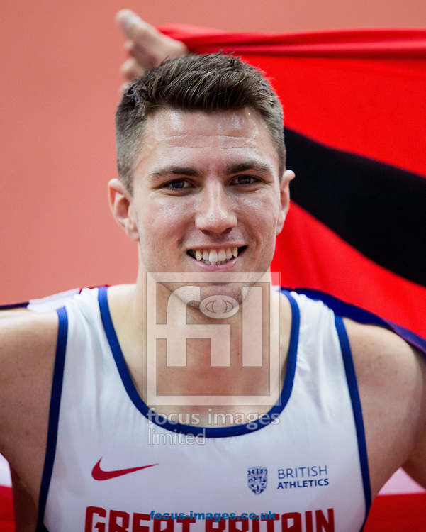 Winner Andy Pozzi of Great Britain celebrates after the 60m Hurdles Men Final on day one of the 34th European Indoor Athletics Championships Belgrade 2017 at the Kombank Arena, Belgrade<br /> Picture by EXPA Pictures/Focus Images Ltd 07814482222<br /> 03/03/2017<br /> *** UK &amp; IRELAND ONLY ***<br /> <br /> EXPA-SLO-170303-0020.jpg