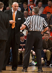 Virginia head coach argues a call with the officials during the WFU game.  The Virginia Cavaliers fell to the #13 ranked Wake Forest Demon Deacons 70-60 at the John Paul Jones Arena on the Grounds of the University of Virginia in Charlottesville, VA on February 28, 2009.