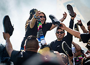 LAFC fans holds shoes up after a goal during a MLS soccer match against the Seattle Sounders in Los Angeles, Sunday, April 21, 2019. LAFC defeated the Sounders 4-1. (Ed Ruvalcaba/Image of Sport)