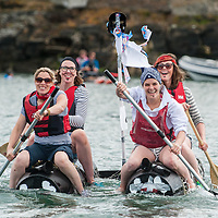 REPRO FREE<br /> 'The Pirates' from Kinsale, Siobhan Howe, Vicky Curtin, Grace Birmingham and Gwen Burchell, at the start of the RNLI Raft Race in Kinsale on Saturday of the Bank Holiday Weekend<br /> Picture. John Allen