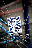 Barack Obama bike card in the spokes of a bicycle in Portland, OR during the presidential election 2008.
