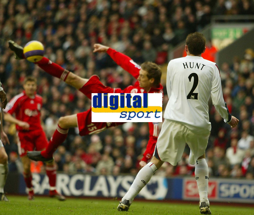 Photo: Aidan Ellis.<br /> Liverpool v Bolton Wanderers. The Barclays Premiership. 01/01/2007.<br /> Liverpool's Peter Crouch scores the first goal
