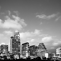 Austin skyline black and white photography with downtown city buildings. Photo was taken in 2016. Austin Texas is a major city in the Southwestern United States of America.