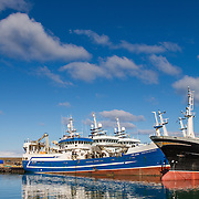 Fraserburgh Harbour in the far north east of Aberdeenshire on a sunny spring afternoon