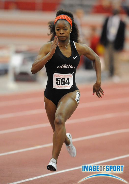 Mar 14, 2008; Fayetteville, AR, USA; LaKya Brookins of South Carolina was fifth in women's 60m heat in 7.32 in the NCAA indoor track and field championships at the Randal Tyson Center.