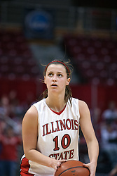 26 February 2006:  Freshman Kristi Cirone sets up for a free throw.....Illinois State Redbirds out muscled the Creighton Bluejays on Senior day by a score of 75-61.  Senior Holly Hallstorm grabbed her 10th double double with 20 points and 12 rebounds.  Competition took place at Redbird Arena on Illinois State University campus in Normal Illinois.