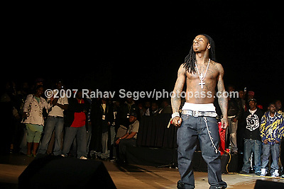 Lil' Wayne performing at Neward Symphony Hall on February 24, 2008...