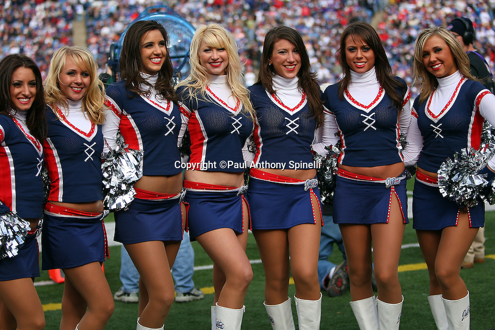 Buffalo Bills cheerleaders pose for a group photo during the NFL football game against the Houston Texans, November 1, 2009 in Orchard Park, New York. The Texans won the game 31-10. (©Paul Anthony Spinelli)