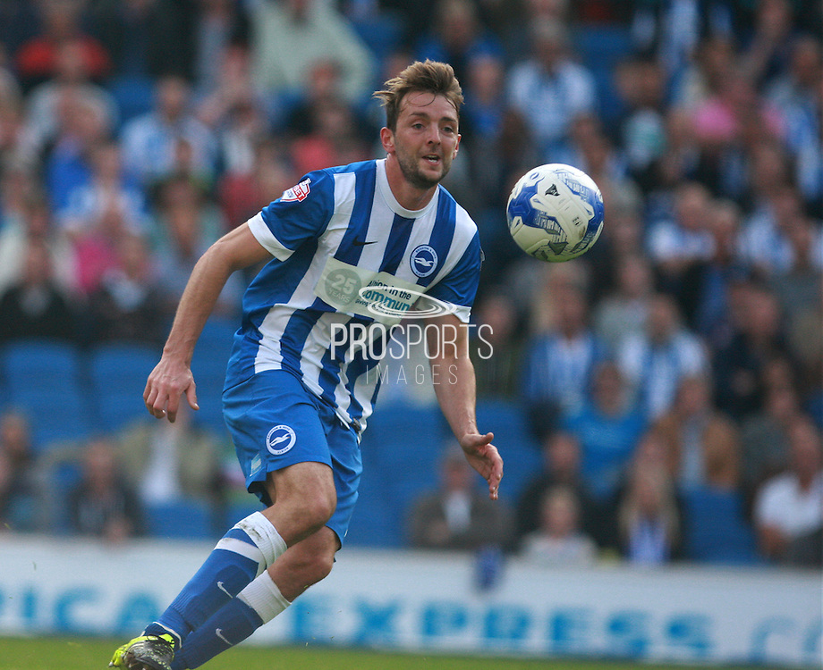 Brighton central midfielder Dale Stephens looks to control the loose ball during the Sky Bet Championship match between Brighton and Hove Albion and Cardiff City at the American Express Community Stadium, Brighton and Hove, England on 3 October 2015. Photo by Bennett Dean.