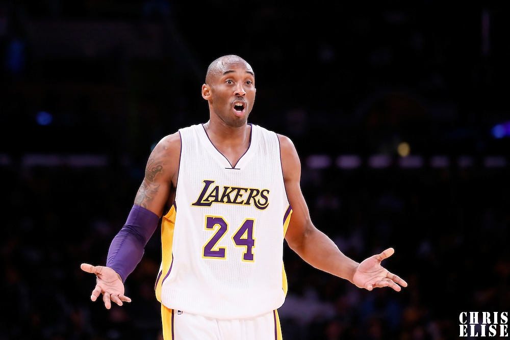 23 November 2014: Los Angeles Lakers guard Kobe Bryant (24) reacts during the Los Angeles Lakers season game versus the Denver Nuggets, at the Staples Center, Los Angeles, California, USA.
