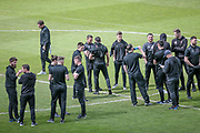 The Salford City players have arrived and are out inspecting the pitch before the Vanarama National League North match between FC Halifax Town and Salford City at the Shay, Halifax, United Kingdom on 7 May 2017. Photo by Mark P Doherty.