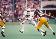COLLEGE FOOTBALL: Stanford v Cal, Nov 22, 1986 at Memorial Stadium in Berkeley, California.  Brad Muster #25.