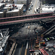 March 8, 2017 - New York, NY : Columbia University's Manhattanville campus is rising on a 17-acre site in West Harlem, north of Columbia's Morningside Heights campus.  The University Forum and Academic Conference Center, which is scheduled to open in 2018, bottom left, rises beside the elevated No. 1 train tracks at 125th Street. CREDIT: Karsten Moran for The New York Times