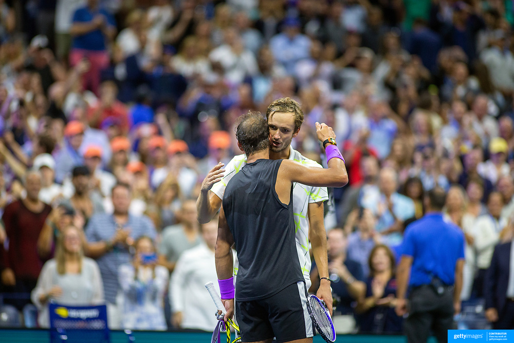2019 US Open Tennis Tournament- Day Fourteen.  Winner Rafael Nadal of Spain and Danill Medvedev of Russia embrace after they five set Men's Singles Final on Arthur Ashe Stadium during the 2019 US Open Tennis Tournament at the USTA Billie Jean King National Tennis Center on September 8th, 2019 in Flushing, Queens, New York City.  (Photo by Tim Clayton/Corbis via Getty Images)