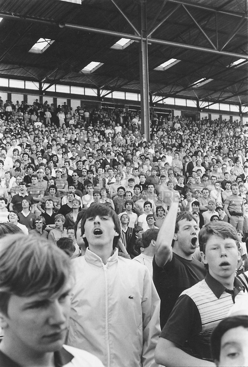 Football fans on the old west stand, c1985