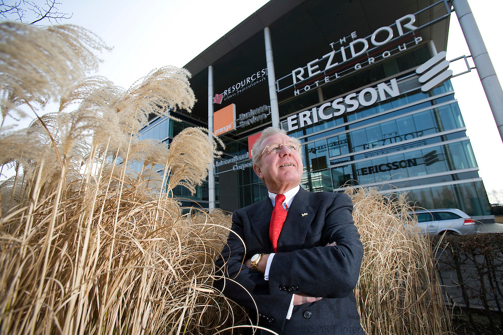 BRUSSELS - BELGIUM - 20 FEBRUARY 2008 -- Kurt RITTER, President & CEO, The Rezidor Hotel Group, outside the main office in Brussels which are shared with other Swedish companies.  Photo: Erik Luntang