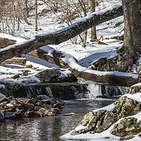 Snowy creek in early spring