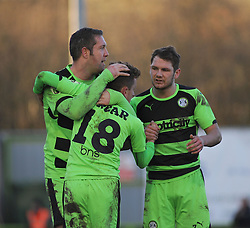 Forest Green Rovers's Elliott Frear celebrates his goal with team mates. - Photo mandatory by-line: Nizaam Jones - Mobile: 07966 386802 - 21/02/2015 - SPORT - Football - Nailsworth - The New Lawn - Forest Green Rovers v AFC Telford - Vanarama Football Conference