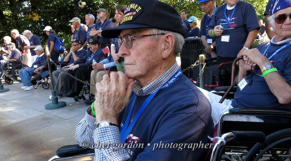 WWII Veterans onboard the Hudson Valley Honor Flight view a changing of the guard ceremony at the Tomb of the Unknown Soldier in Arlington National Cemetery, Arlington, VA on Saturday, September 27, 2014. Nearly one hundred WWII Veterans from the Hudson Valley region of New York toured the WWII Memorial in Washington, DC and Arlington National Cemetery in Arlington, VA.  © www.chetgordon.com