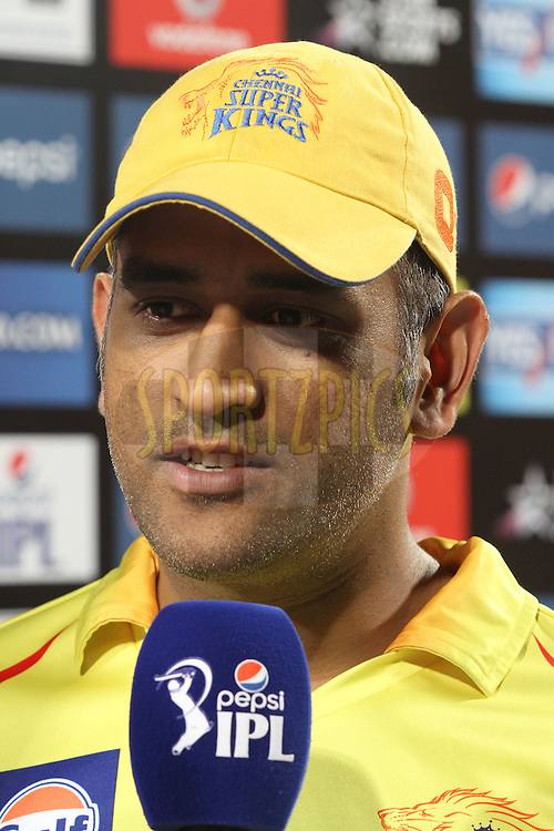 MS Dhoni captain of The Chennai Super Kings during match 21 of the Pepsi Indian Premier League Season 2014 between the Chennai Superkings and the Kolkata Knight Riders  held at the JSCA International Cricket Stadium, Ranch, India on the 2nd May  2014<br /> <br /> Photo by Shaun Roy / IPL / SPORTZPICS<br /> <br /> <br /> <br /> Image use subject to terms and conditions which can be found here:  http://sportzpics.photoshelter.com/gallery/Pepsi-IPL-Image-terms-and-conditions/G00004VW1IVJ.gB0/C0000TScjhBM6ikg