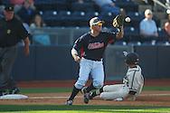 Ole Miss third baseman Andrew Mistone takes the throw and throws out Vanderbilt's Tony Kemp (6) at second at Oxford-University Stadium Stadium in Oxford, Miss. on Saturday, April 6, 2013. Vanderbilt won 2-1.
