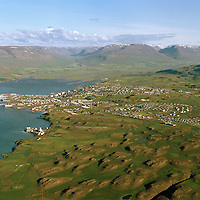 Akureyri séð til suðurs, Krossanes fremst t. v. / Akureyri viewing south, Krossanes left in foreground.