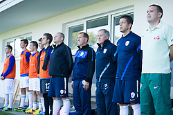 Milan Miklavic, head coach and Mitja Pirih during football game between Slovenia and Andorra of UEFA Under19 Championship Qualifications, on October 15, 2013 in Bakovci, Slovenia. (Photo by Erik Kavas / Sportida)