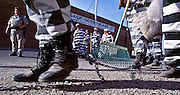 "01 NOVEMBER 1999 - PHOENIX, ARIZONA, USA: Members of the women chain gang in Maricopa County, Phoenix, AZ, clean up trash on a Phoenix street. Maricopa county sheriff Joe Arpaio claims to have the only women's chain gang in the United States. He has been criticized for the chain gang but claims to be an ""equal opportunity incarcerator."" He has said that if puts men on a chain gang he will also put women on a chain gang. The women are prisoners in the county jail and volunteer for duty on the chain gang because it gets them out of the jail for six hours a day.  © Jack Kurtz  WOMEN   PRISON   CIVIL RIGHTS  SOCIAL ISSUES"