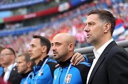 SAMARA, June 17, 2018  Serbia's head coach Mladen Krstajic (1st R) is seen prior to a group E match between Costa Rica and Serbia at the 2018 FIFA World Cup in Samara, Russia, June 17, 2018. (Credit Image: © Fei Maohua/Xinhua via ZUMA Wire)
