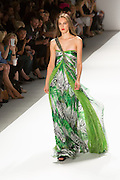 Gauzy one-shoulder gown in a black, white and green jungle print. By Carlos Miele at the Spring 2013 Mercedes-Benz Fashion Week in New York.