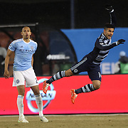 Dom Dwyer, (right), Sporting KC, in action during the New York City FC Vs Sporting Kansas City, MSL regular season football match at Yankee Stadium, The Bronx, New York,  USA. 27th March 2015. Photo Tim Clayton