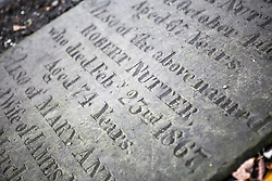 © Licensed to London News Pictures. 21/10/2015. Halifax, UK. Picture shows the headstone of Robert Nutter who fought in the Battle of Waterloo at he Victorian Grade 2 listed Lister Lane Cemetery in Halifax that dates back to 1841 & has been recognised as a Significant Cemetery in Europe, one of only 13 in the UK putting it alongside such famous cemeteries as Highgate in London. The cemetery houses burial plots of James Uriah Walker who was the owner of the Halifax Guardian & the first person to publish the Bronte sister's work, The Crossley family who's mill became the largest carpet manufacturing business in the world & numerous veterans of the battle of Waterloo. Photo credit: Andrew McCaren/LNP