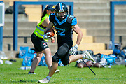 Giants Josh Allen (#32) rushes for a touchdown during the BAFA Northern Division match between Edinburgh Wolves and Sheffield Giants at Meggetland Sports Complex, Edinburgh, Scotland on 1 July 2018. Picture by Malcolm Mackenzie.
