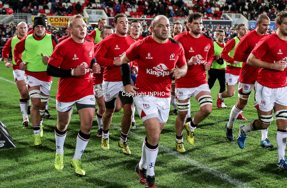 Guinness PRO12, Kingspan Stadium, Belfast 23/12/2016<br /> Ulster vs Connacht<br /> Ulster's Rory Best leads the team off the field after their warm up<br /> Mandatory Credit &copy;INPHO/Morgan Treacy